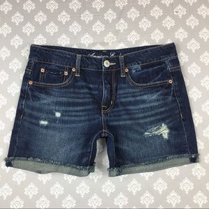 American Eagle Dark Denim Distressed Shorts